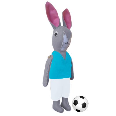 Bunny Football Mascot Sewing Kit in Sky Blue – A fun learning experience!